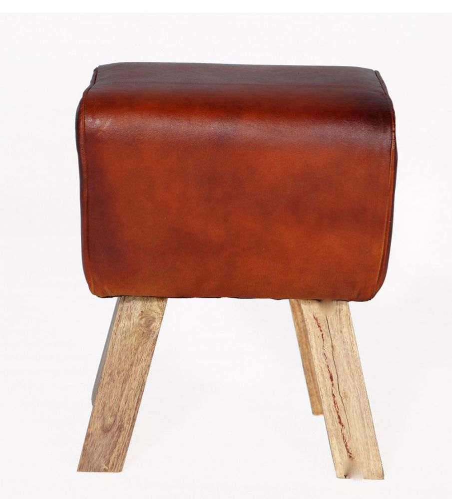 Buck Leather Footstool with Hardwood Frame and Legs